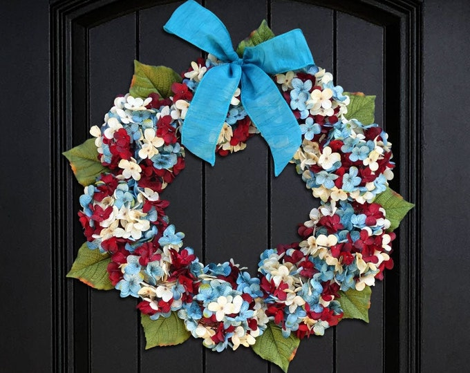 Featured listing image: Patriotic Wreath for Front Door, Wreath for Summer, Hydrangea Wreath, 4th of July Wreath, Porch Decor, Red Cream (Off-White) Blue Wreath