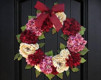 Large Valentines Day Wreath for Front Door, Wreath for Spring, Summer Wreath, Hydrangea Wreath, Peony Wreath, Porch Decor, 24 Inch Wreath