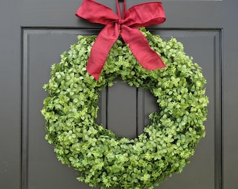 Artificial Boxwood Wreath, Christmas Wreath, Holiday Wreath, Front Door Wreath with Bow, Greenery Wreath, Small Wreath, Large Wreath