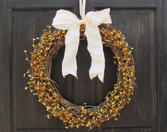 Halloween Wreath, Fall Wreath, Fall Pip Berry Wreath, Front Door Wreath, Rustic Fall Wreath, Fall Door Decor, Orange Yellow Pip Berry Wreath