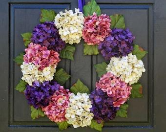 Easter Wreath, Front Door Wreath, Spring Hydrangea Wreath, Spring Wreath, Easter Door Decor, Easter Porch Decor, Purple Cream Pink Wreath