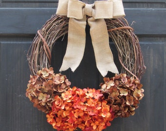 Thanksgiving Wreath, Rustic Fall Wreath, Front Door Wreath, Fall Hydrangea Wreath, Fall Grapevine Wreath, Orange Brown Hydrangea Wreath