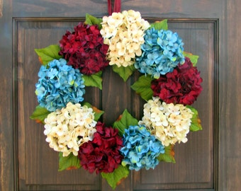 Patriotic Hydrangea Wreath for Front Door, Wreath for Summer Porch Decor, 4th of July Wreath, Red White Blue Wreath, Large Summer Wreath