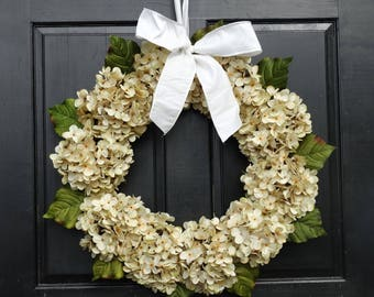 Cream Hydrangea Wreath, Front Door Wreath, Year Round Wreath, Winter Wreath, Summer Wreath, Spring Wreath, All Season Wreath, Porch Decor
