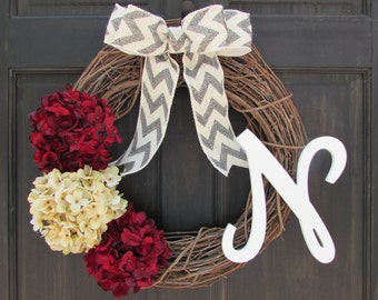 Holiday Wreath with Monogram, Christmas Wreath with Initial, Front Door Hanger, Burgundy Red Cream Hydrangea Wreath, Rustic Grapevine Wreath