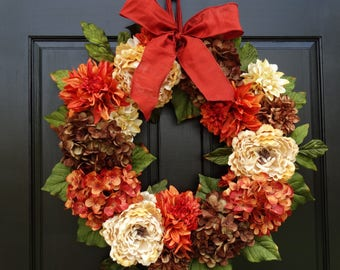 Large Thanksgiving Wreath, Fall Wreath, Front Door Wreath for Fall Decor, Fall Hydrangea Wreath, Peony Wreath, Porch Decor, 24 Inch Wreath