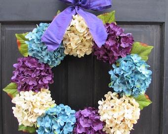 Easter Wreath, Spring Hydrangea Wreath, Front Door Wreath, Spring Wreath, Turquoise Blue Cream Purple Hydrangea Wreath for Front Door Decor