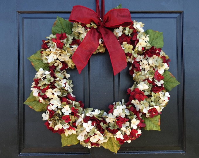 Featured listing image: Christmas Wreath, Front Door Wreath, Hydrangea Wreath, Holiday Wreath, Christmas Hydrangea Wreath, Porch Decor, Large Wreath, Small Wreath