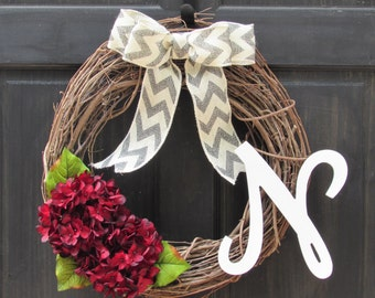 Red Wreath with Initial, Red Hydrangea Wreath, Grapevine Wreath with Monogram, Fall Monogram Wreath, Fall Wreath, Fall Initial Wreath