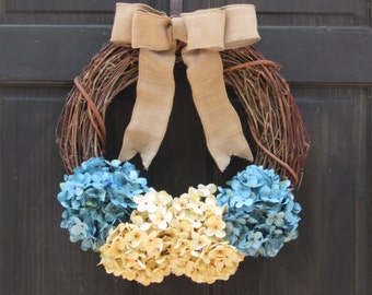 Rustic Winter Wreath, Spring Grapevine Wreath, Blue Hydrangea Wreath, Front Door Wreath, Summer Wreath, Winter Door Decor, Spring Wreath