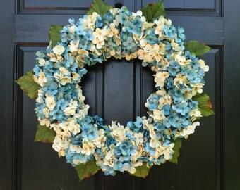 Winter Wreath, Front Door Wreath, Winter Hydrangea Wreath, Spring Wreath, Blue Hydrangea Wreath, Summer Porch Decor, Spring Door Decoration