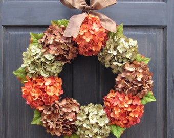 Thanksgiving Wreath, Fall Wreath, Front Door Wreath for Fall Decor, Fall Hydrangea Wreath for Front Door, Fall Porch Decor, Fall Door Decor