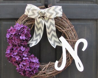 Purple Wreath with Monogram, Initial Wreath, Purple Hydrangea Wreath, Front Door Decor, Monogram Wreath, Initial Door Decor, Porch Decor