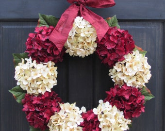 Holiday Wreath, Christmas Wreath, Valentines Day Wreath, Front Door Wreath, Red Hydrangea Wreath, Christmas Door Decor, Holiday Porch Decor