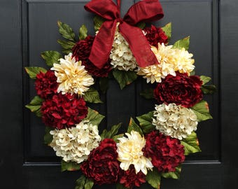 Large Holiday Wreath, Christmas Wreath, Valentines Day Wreath, Front Door Wreath, Red Hydrangea Wreath, Peony Wreath, 24 Inch Wreath
