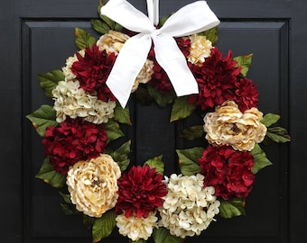 Valentines Day Wreath, Holiday Wreath, Christmas Wreath, Front Door Wreath, Red Hydrangea Wreath, Peony Wreath, Dahlia Wreath, Holiday Decor