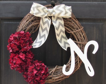 Red Wreath, Red Hydrangea Wreath with Monogram, Fall Initial Wreath, Personalized Valentine Wreath, Christmas Wreath, Holiday Wreath
