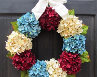 4th of July Wreath for Front Door, Wreath for Summer, Hydrangea Wreath, Patriotic Wreath, Large Wreath, Small Wreath, Red White Blue Wreath