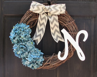 Blue Wreath with Initial, Turquoise Blue Hydrangea Wreath with Monogram, Personalized Winter Wreath, Spring Initial Wreath, Blue Door Decor
