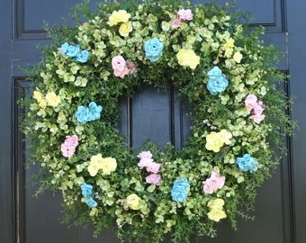Large Artificial Greenery Wreath, Pastel Mini Rose Wreath, Easter Wreath, Year Round Wreath, Front Door Wreath, Spring Wreath, 24 Inch