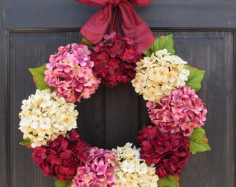 Spring Wreath for Front Door, Wreath for Summer, Hydrangea Wreath, Valentines Day Wreath, Small Wreath, Extra Large Wreath with Bow