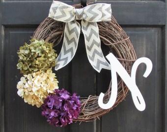 Spring Monogram Wreath, Summer Initial Wreath, Green Cream Purple Hydrangea Wreath with Letter, Initial Door Decor, Spring Door Hanger