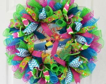 Relax Wreath, Flamingo Wreath, Summer Wreath, Deco Mesh Wreath, Tropical Wreath, Summer Door Decor, Patio Wreath, Pool Wreath, Tiki Wreath