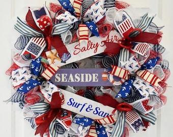 Nautical Wreath, Sailboat Wreath, Boathouse Wreath, Everyday Wreath, Summer Wreath, Deco Mesh Wreath, Nautical Decor, READY TO SHIP Wreath