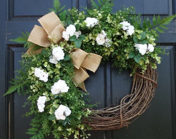 Featured listing image: White Mini Rose Wreath, Greenery Wreath, Front Door Wreath, Year Round Wreath, Everyday Wreath, Summer Wreath, Spring Wreath for Front Door