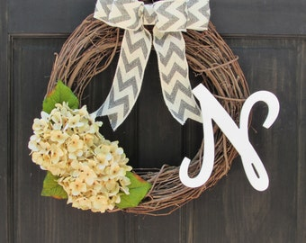 Cream Hydrangea Wreath with Initial, Monogram Wreath, Year Round Wreath, Front Door Wreath, Initial Door Decor, Winter Wreath, Summer Wreath