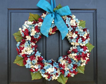 Patriotic Wreath for Front Door, Wreath for Summer, Hydrangea Wreath, 4th of July Wreath, Porch Decor, Red Cream (Off-White) Blue Wreath