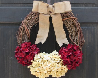 Rustic Holiday Wreath, Christmas Wreath, Valentines Day Wreath, Red Hydrangea Wreath, Grapevine Wreath, Front Door Wreath,  Front Door Decor