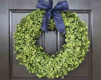 Artificial Boxwood Wreath, Winter Wreath, Front Door Wreath for Winter, Greenery Wreath with Bow, Small Wreath, Extra Large Wreath for Door