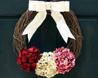 Valentines Day Wreath for Front Door, Wreath for Spring, Hydrangea Wreath, Grapevine Wreath, Rustic Wreath, Summer Door Hanger, Porch Decor