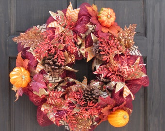 Red Thanksgiving Fall Deco Mesh Wreath with Faux Pumpkins, Pine Cones and Leaves