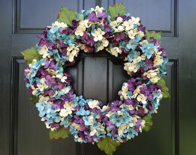 Featured listing image: Winter Wreath, Front Door Wreath, Winter Porch Decor, Spring Wreath, Winter Door Decor, Turquoise Blue Cream Purple Hydrangea Wreath