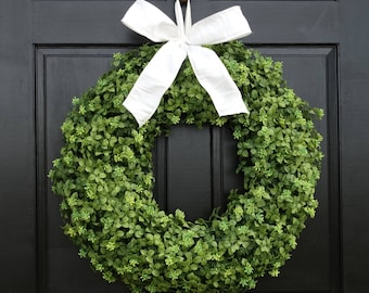 Artificial Boxwood Wreath, Front Door Wreath, Year Round Wreath, Fall Wreath, Everyday Wreath, Greenery Wreath, Small Wreath, Large Wreath