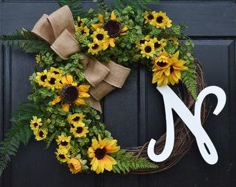 Sunflower Wreath with Monogram, Faux Boxwood Wreath with Initial, Summer Wreath, Fall Wreath, Front Door Wreath, Farmhouse Wreath for Door