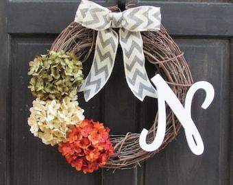 Personalized Fall Wreath with Initial, Summer Monogram Wreath, Initial Door Decor, Front Door Wreath, Orange Green Hydrangea Wreath for Door