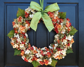 Fall Hydrangea Wreath, Summer Wreath, Front Door Wreath, Fall Wreath, Summer Hydrangea Wreath, Summer Porch Decor, Orange Green Wreath