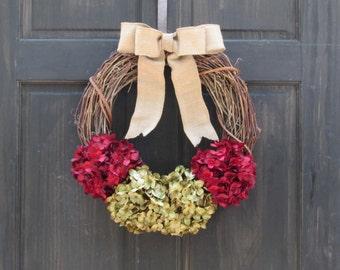 Rustic Christmas Wreath, Holiday Wreath, Front Door Wreath, Red Green Wreath, Hydrangea Wreath, Grapevine Wreath, Christmas Door Decoration