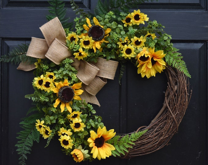 Featured listing image: Sunflower Wreath, Faux Boxwood Wreath, Front Door Wreath, Spring Wreath, Summer Wreath, Year Round Wreath, Fall Wreath, Farmhouse Wreath