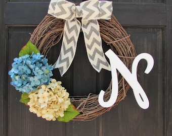 Winter Wreath with Monogram, Spring Initial Wreath, Personalized Wreath, Front Door Wreath, Blue Hydrangea Wreath, Rustic Grapevine Wreath