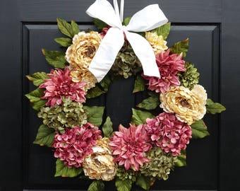 Large Summer Wreath, Front Door Wreath, Summer Hydrangea Wreath, Spring Wreath, Porch Decor, Dahlia Wreath, Peony Wreath, 24 Inch Wreath