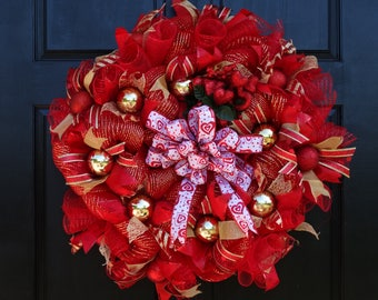 Red and Gold Valentines Day Deco Mesh Wreath with Red Hearts, Decorative Ball Ornaments and Bow for Front Door Porch Decor