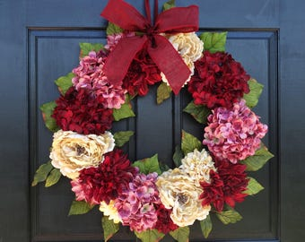 Large Valentines Day Wreath for Front Door, Wreath for Spring, Summer Wreath, Hydrangea Wreath, Peony Wreath, Porch Decor, 24 Inch Wreath