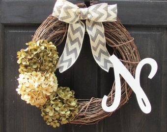 Initial Wreath, Monogram Wreath, Front Door Wreath with Initial, Fall Wreath, Year Round Wreath, Everyday Wreath, Personalized Wreath
