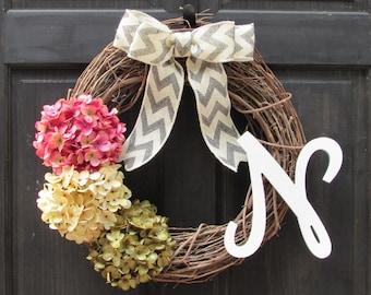 Summer Initial Wreath, Spring Monogram Wreath, Front Door Wreath, Summer Wreath, Spring Wreath, Hydrangea Wreath, Grapevine Wreath for Door