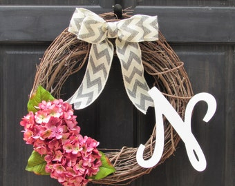 Pink Wreath with Monogram, Spring Initial Wreath, Summer Wreath with Letter, Initial Door Decor, Pink Hydrangea Wreath, Grapevine Wreath