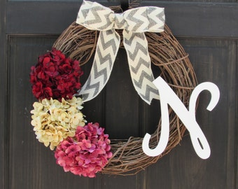 Valentines Day Wreath with Monogram, Initial Wreath, Spring Grapevine Wreath, Summer Wreath, Monogram Wreath, Personalized Wreath for Door